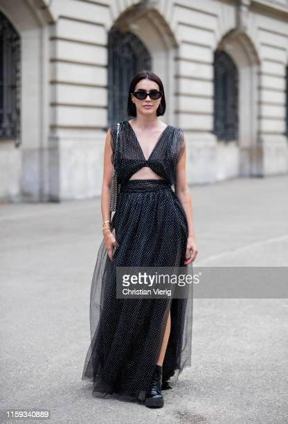 Brittany Xavier is seen wearing black dress outside Redemption during Paris Fashion Week Haute Couture Fall/Winter 2019/2020 on June 30 2019 in Paris...