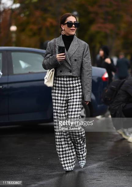 Brittany Xavier is seen wearing Chanel outside the Chanel show during Paris Fashion Week SS20 on October 1, 2019 in Paris, France.