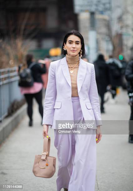Brittany Xavier is seen wearing pink suit outside Zimmermann during New York Fashion Week Autumn Winter 2019 on February 11 2019 in New York City