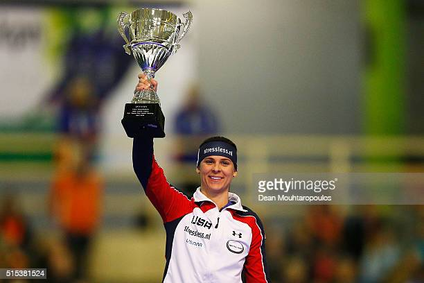BrittanyBowe of the USA celebrates with the trphy after she wins the World CUp in the ladies 1000m during day three of the ISU World Cup Speed...