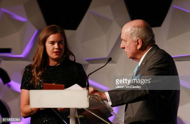Britteny Cox accepts the Office of Sport Female Athlete of the Year Award during the 2017 NSWIS Awards at Sydney Cricket Ground on November 16 2017...