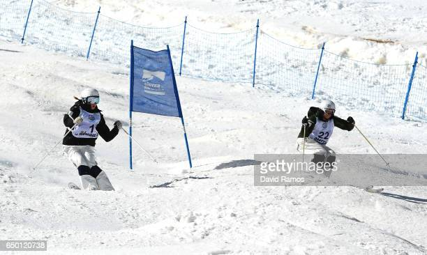 Britteny Cox and Jakara Anthony of Australia compete during the Women's Dual Moguls round of 16 on day two of the FIS Freestyle Ski and Snowboard...