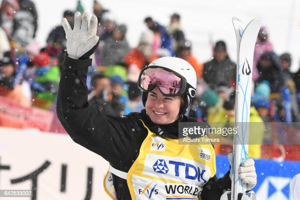 Britteny Cox of Australia celebrates after winning the ladies moguls after winning in the ladies moguls during 2017 FIS Freestyle Ski World Cup...