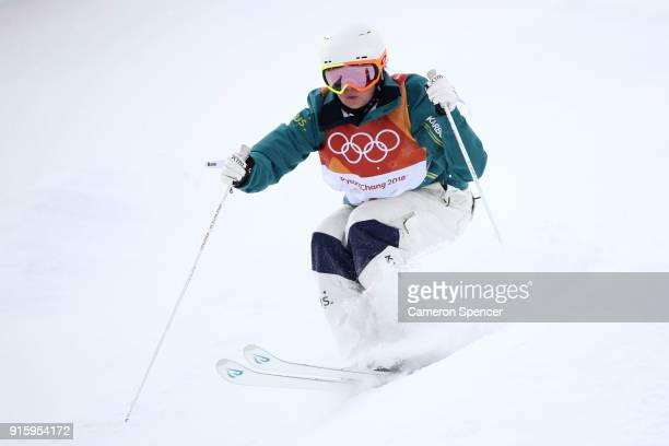 Britteny Cox of Australia competes during the Ladies' Freestyle Skiing Moguls qualification ahead of the PyeongChang 2018 Winter Olympic Games at...