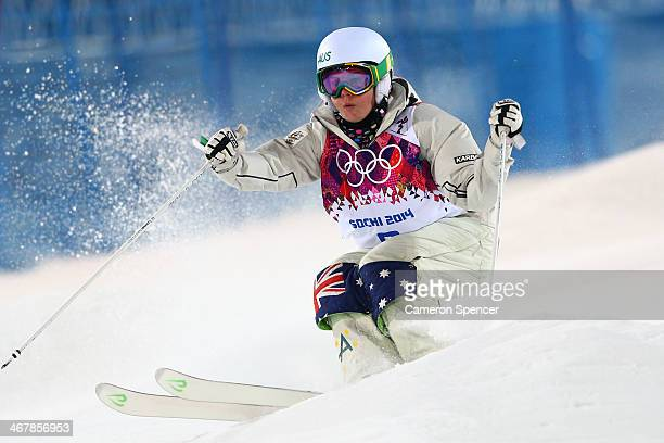 Britteny Cox of Australia competes in the Ladies' Moguls Final 1 on day one of the Sochi 2014 Winter Olympics at Rosa Khutor Extreme Park on February...