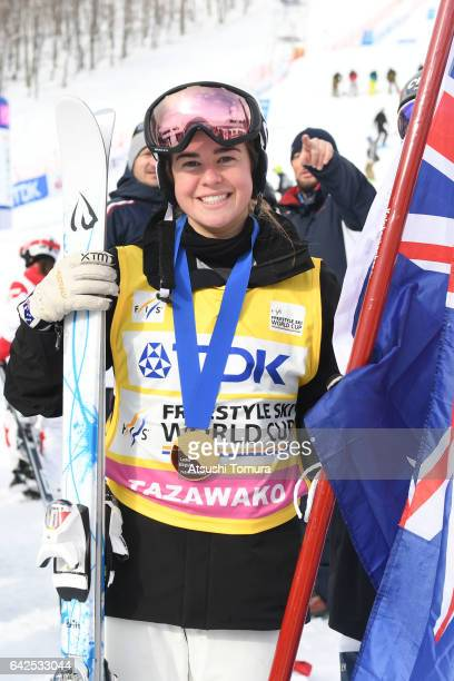 Britteny Cox of Australia poses with her gold medal after winning in the ladies moguls during 2017 FIS Freestyle Ski World Cup Tazawako In Akita...