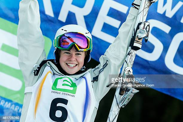 Britteny Cox of Australia takes 3rd place during the FIS Freestyle Ski World Championships Men's and Women's Moguls on January 18 2015 in Kreischberg...