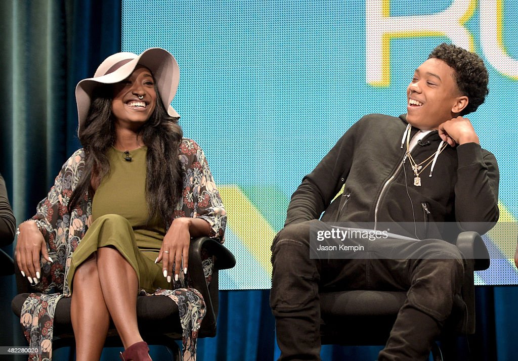 Brittney Atkins (L) and Jeffrey Atkins Jr., speak onstage during the 'Follow The Rules' panel at the Viacom TCA Presentation at The Beverly Hilton Hotel on July 29, 2015 in Beverly Hills, California.