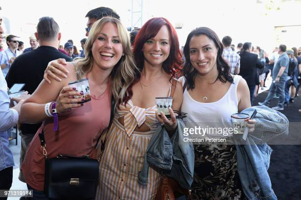 Brittney Bromacher TV and Online personality Andrea Rene and Kristine Steiner attend the Bethesda E3 conference at the Event Deck at LA Live on June...