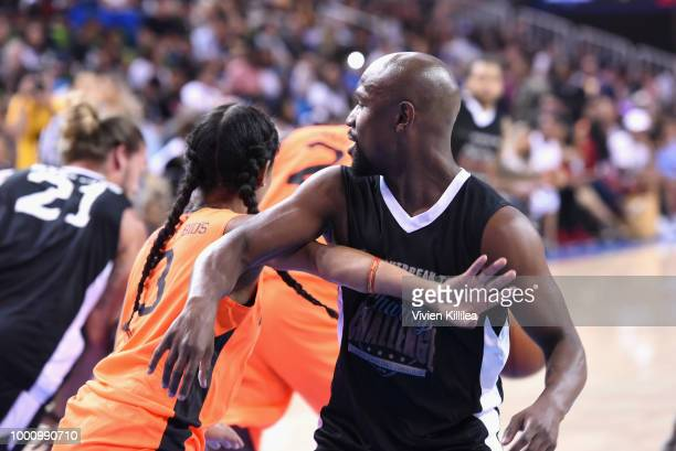 Brittney Elena and Floyd Mayweather Jrattend 50K Charity Challenge Celebrity Basketball Game at UCLA's Pauley Pavilion on July 17 2018 in Westwood...