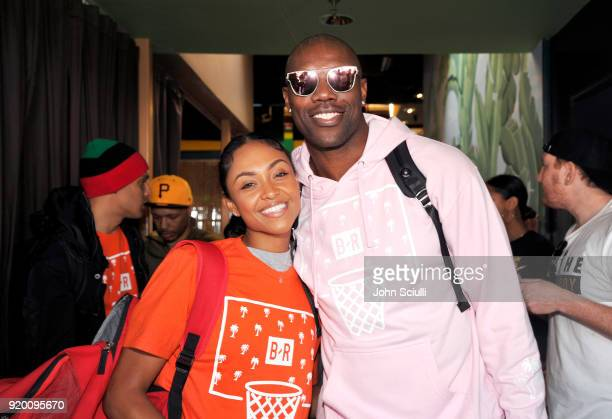 Brittney Elena and Terrell Owens attend McDonald's at Bleacher Report AllStar Experience on February 18 2018 in Santa Monica California