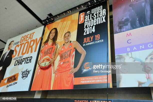 Brittney Griner and Diana Taurasi are the faces of the 2014 Boost Mobile WNBA AllStar Game at the US Airway Center in Phoenix on July 19 2014...