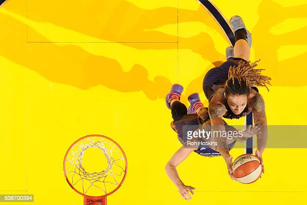Brittney Griner and Penny Taylor of the Phoenix Mercury go for the rebound during the game against the Indiana Fever on May 18 2016 at Bankers Life...
