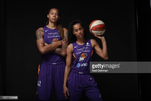 Brittney Griner and Skylar Diggins-Smith of the Phoenix Mercury poses for a portrait during Media Day on July 14, 2020 at IMG Academy in Bradenton,...