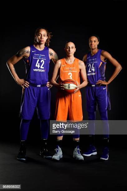 Brittney Griner Diana Taurasi and DeWanna Bonner of the Phoenix Mercury pose for a portraits at Media Day on May 14 at Talking Stick Resort Arena in...