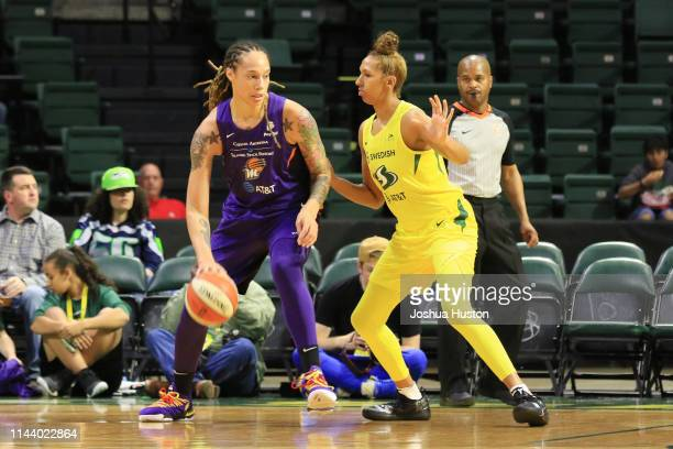 Brittney Griner of Phoenix Mercury handles the ball against the Seattle Storm on May 15 2019 at the Angel of the Winds Arena in Everett Washington...