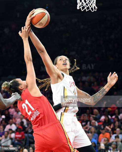 Brittney Griner of Team Delle Donne grabs a rebound against Kayla McBride of Team Wilson during the WNBA AllStar Game 2019 at the Mandalay Bay Events...