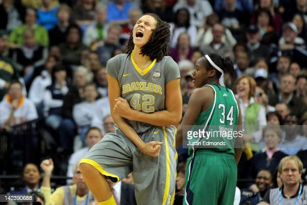 Brittney Griner of the Baylor Bears celebrates late in the second ahlf against the Notre Dame Fighting Irish during the National Final game of the...