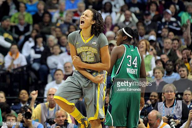 Brittney Griner of the Baylor Bears celebrates late in the second half against the Notre Dame Fighting Irish during the National Final game of the...