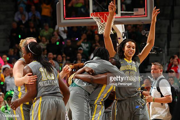Brittney Griner of the Baylor Bears celebrates with her teammates after they won 80-61 against the Notre Dame Fighting Irish during the National...