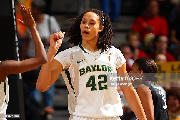 Brittney Griner of the Baylor Bears reacts in the first half against the Stanford Cardinal during the National Semifinal game of the 2012 NCAA...