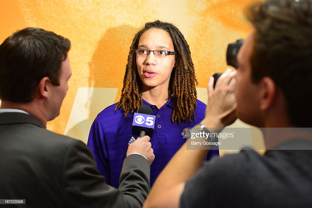 Brittney Griner #42 of the Phoenix Mercury addresses the media during the introduction to the team on April 20, 2013 at U.S. Airways Center in Phoenix, Arizona.