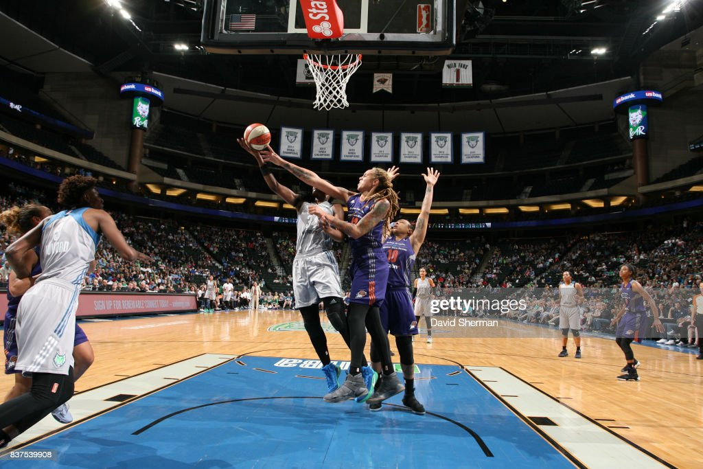 Brittney Griner #42 of the Phoenix Mercury blocks the shot against the Minnesota Lynx on August 22, 2017 at Xcel Energy Center in St. Paul, Minnesota.
