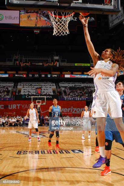 Brittney Griner of the Phoenix Mercury drives to the basket against against the Minnesota Lynx in Game 1 of the 2014 WNBA Western Conference Finals...