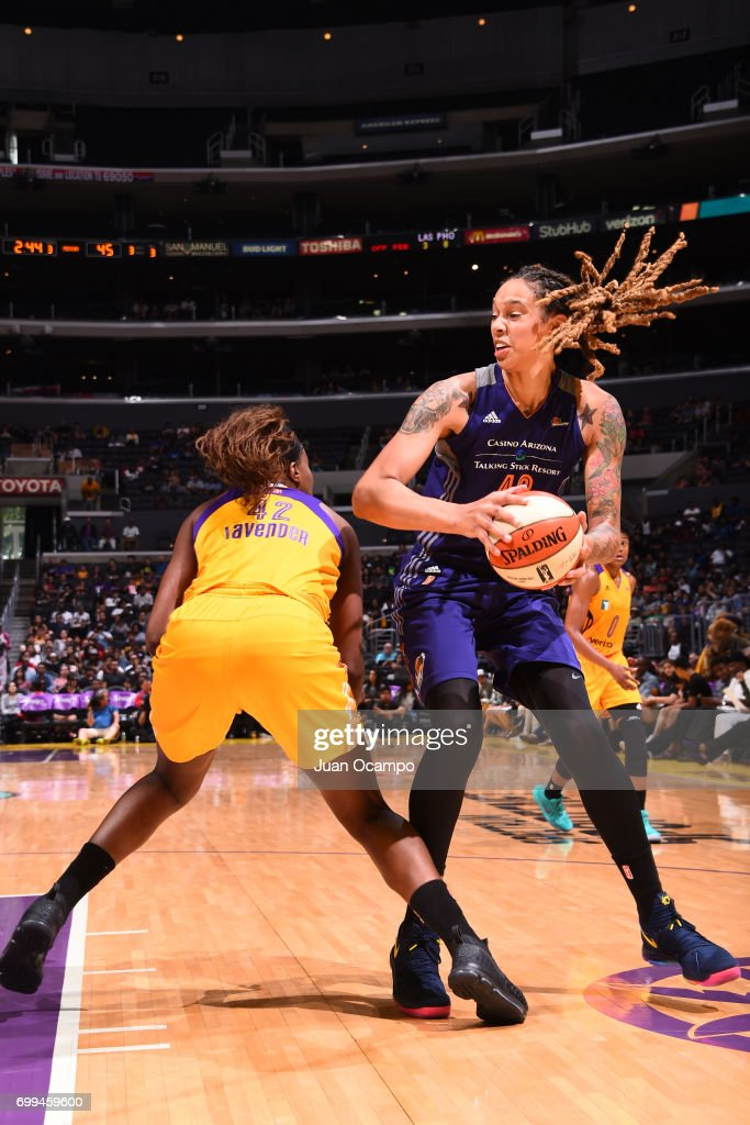 Brittney Griner #42 of the Phoenix Mercury goes to the basket against the Los Angeles Sparks on June 18, 2017 at STAPLES Center in Los Angeles, California.