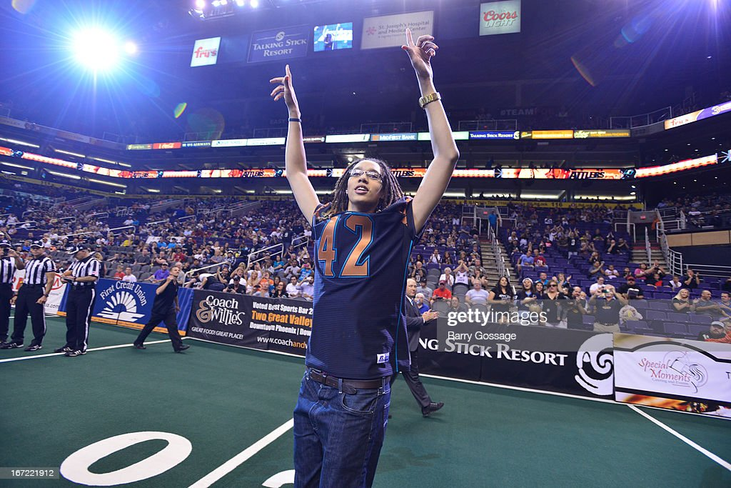 Brittney Griner #42 of the Phoenix Mercury greets the crowd before the Arizona Rattlers take on the San Antonio Talons on April 20, 2013 at U.S. Airways Center in Phoenix, Arizona.