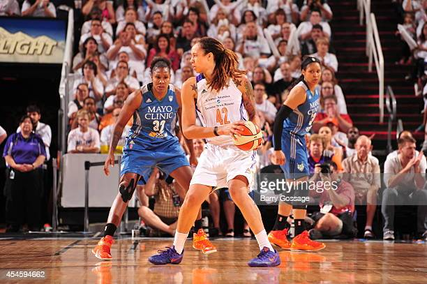 Brittney Griner of the Phoenix Mercury handles the ball against the Minnesota Lynx in Game 1 of the 2014 WNBA Western Conference Finals on August 29...