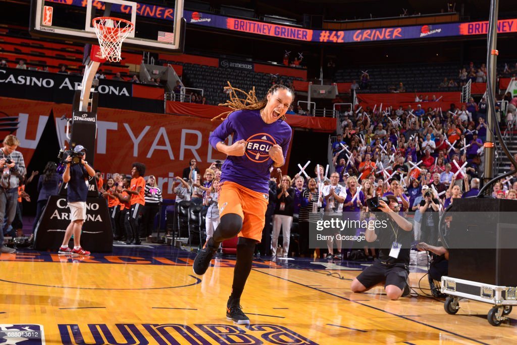 Brittney Griner #42 of the Phoenix Mercury is introduced before the game against the Dallas Wings on May 14, 2017 at Talking Stick Resort Arena in Phoenix, Arizona.