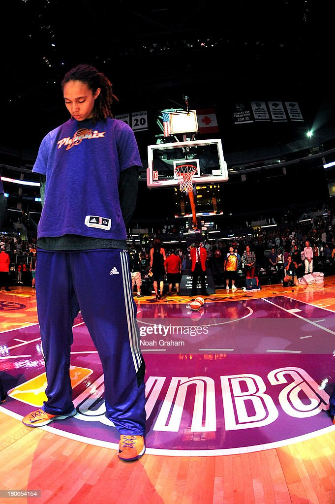 Brittney Griner #42 of the Phoenix Mercury looks on during a game against the Los Angeles Sparks at Staples Center on September 15, 2013 in Los Angeles, California.
