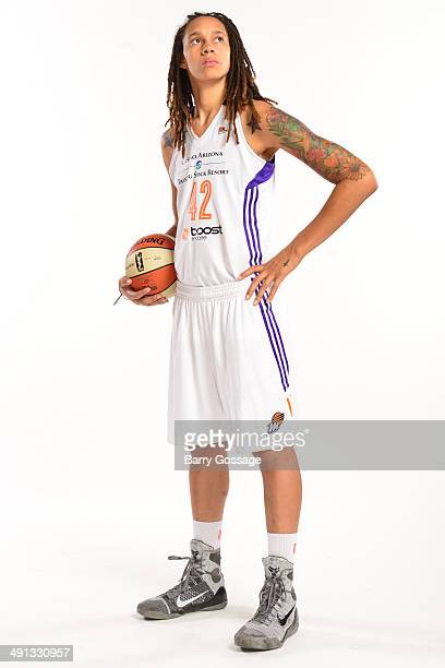 Brittney Griner of the Phoenix Mercury poses for a photo during the Phoenix Mercury Media Day on May 13 2014 at US Airways Center in Phoenix Arizona...