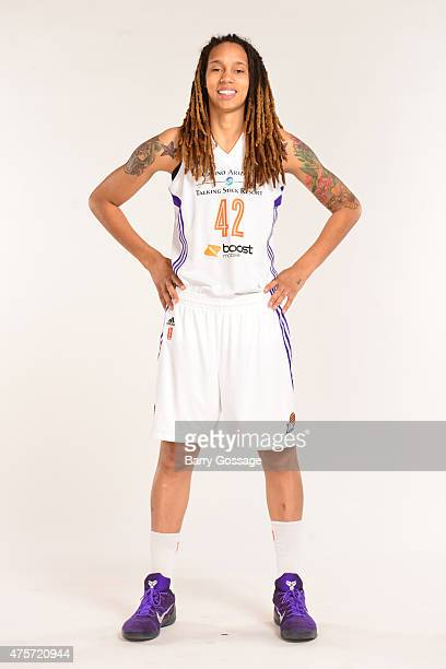 Brittney Griner of the Phoenix Mercury poses for photos during the Phoenix Mercury Media Day on June 1 2015 in Phoenix Arizona NOTE TO USER User...