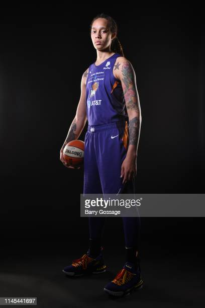 Brittney Griner of the Phoenix Mercury poses for portraits at The Phoenix Mercury Media Day on May 20 2019 at Talking Stick Resort Arena in Phoenix...
