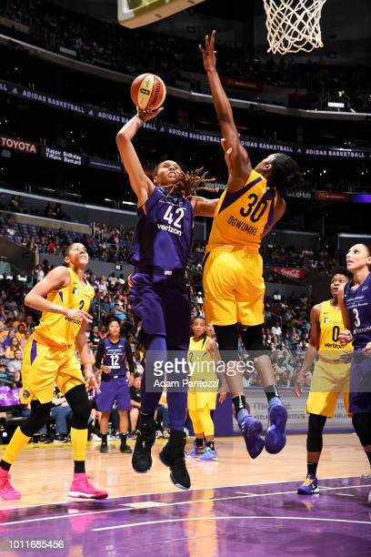 Brittney Griner of the Phoenix Mercury shoots the ball against the Los Angeles Sparks on August 5 2018 at The Staples Center in Los Angeles...
