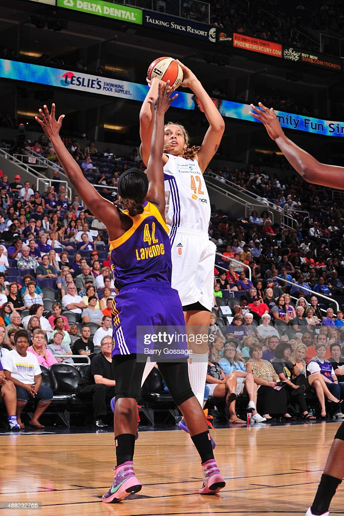 Brittney Griner #42 of the Phoenix Mercury shoots the ball against the Los Angeles Sparks on September 11, 2015 at the US Airways Center in Phoenix, Arizona.