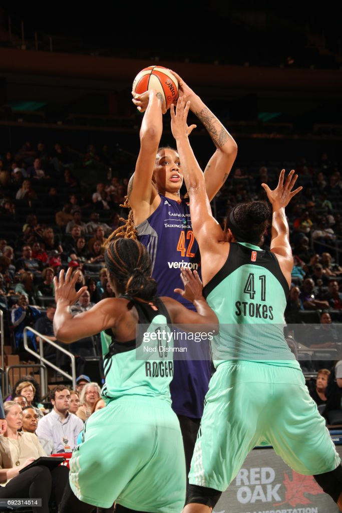 Brittney Griner #42 of the Phoenix Mercury shoots the ball against the New York Liberty on June 4, 2017 at Madison Square Garden in New York, New York.