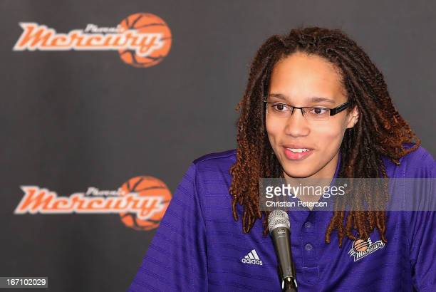 Brittney Griner of the Phoenix Mercury speaks during a press conference after being selected as the first pick in the 2013 WNBA Draft at US Airways...
