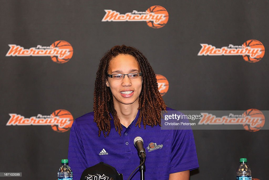 Brittney Griner of the Phoenix Mercury speaks during a press conference after being selected as the first pick in the 2013 WNBA Draft at US Airways Center on April 20, 2013 in Phoenix, Arizona.