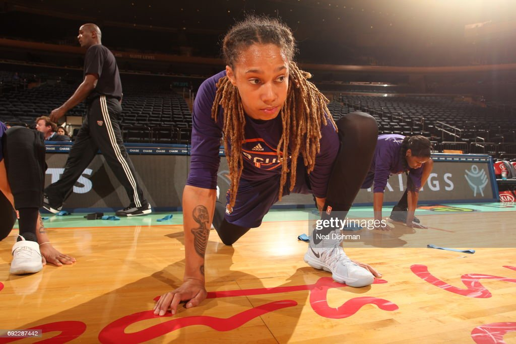 Brittney Griner #42 of the Phoenix Mercury stretches before the game against the New York Liberty on June 4, 2017 at Madison Square Garden in New York, New York.