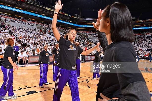 Brittney Griner of the Phoenix Mercury warms up against the Minnesota Lynx before Game 1 of the 2014 WNBA Western Conference Finals on August 29 2014...