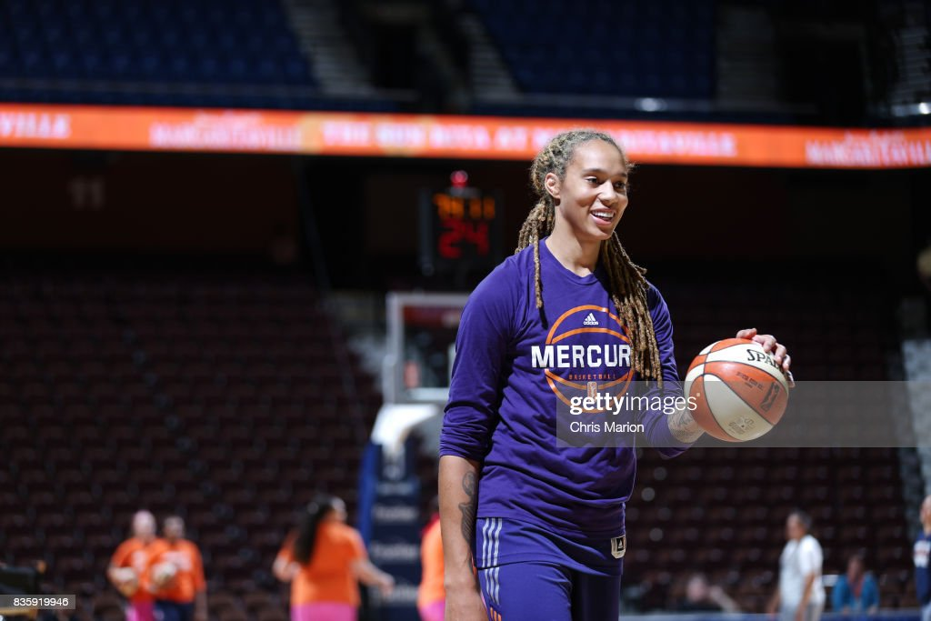 Brittney Griner #42 of the Phoenix Mercury warms up before the game against the Connecticut Sun on August 20, 2017 at Mohegan Sun Arena in Uncasville, CT.