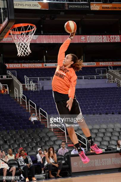 Brittney Griner of the Western Conference AllStars attempts a dunk during AllStar Practice and Media Availability on July 18 2014 at US Airways...