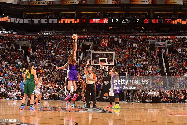 Brittney Griner of the Western Conference AllStars battles for the jump ball during the 2014 Boost Mobile WNBA AllStar Game on July 19 2014 at US...