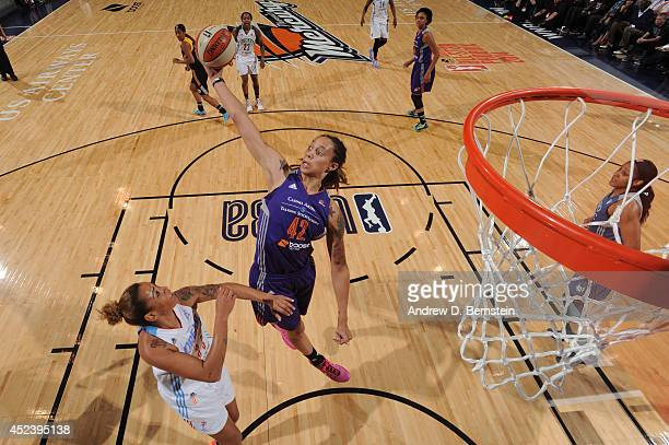 Brittney Griner of the Western Conference AllStars rebounds the basketball during the 2014 Boost Mobile WNBA AllStar Game on July 19 2014 at US...