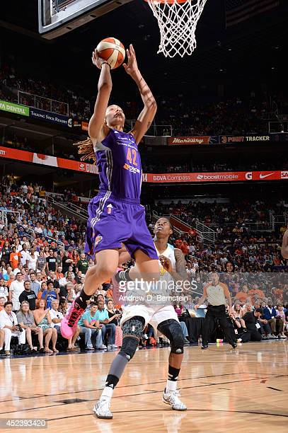 Brittney Griner of the Western Conference AllStars shoots during the 2014 Boost Mobile WNBA AllStar Game on July 19 2014 at US Airways Center in...