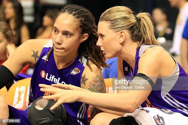 Brittney Griner Phoenix Mercury gets advice on the bench from team mate Penny Taylor during the Connecticut Sun V Phoenix Mercury WNBA regular season...