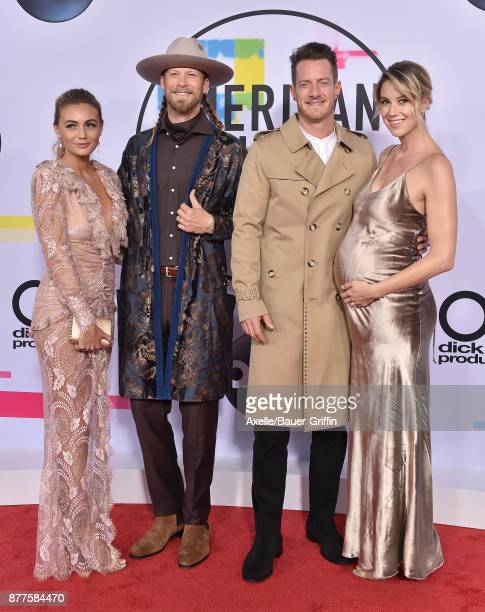 Brittney Marie Cole Brian Kelley Tyler Hubbard and Hayley Stommel arrive at the 2017 American Music Awards at Microsoft Theater on November 19 2017...